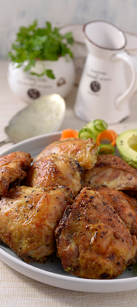 Lemon and Garlic Oven Baked Chicken Thighs served with Cucumber and Carrot Ribbons