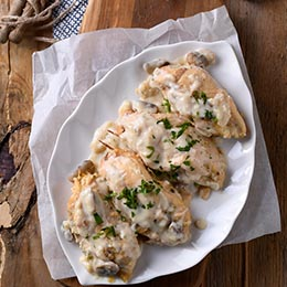 Mushroom stuffed cheesy garlic chicken breast fillets