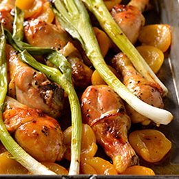 Apricots,spring onions, sticky chicken drumsticks