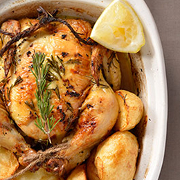Roast chicken served with roast potatoes