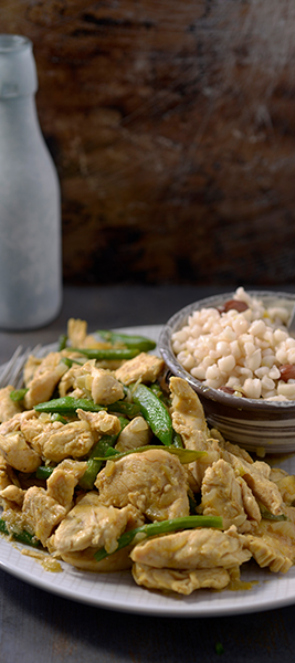 Tender Chicken Strips with Beans & Samp Recipe